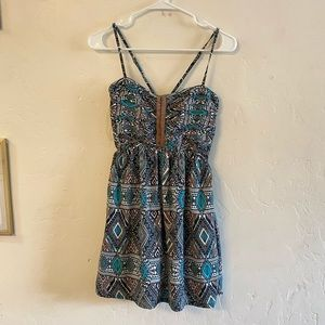 Billabong Blue & Cream Printed Mini Dress Small